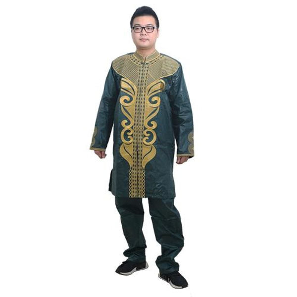 African Traditional Dashiki Bazin Riche Embroidery Cotton Top-Pants Y20736