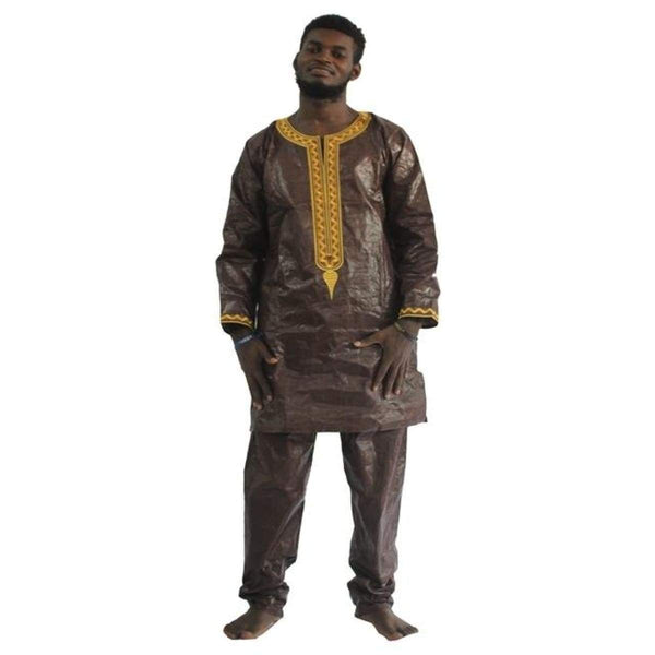 African Men Traditional Embroidered Bazin Riche Robe Shirt With Y20742