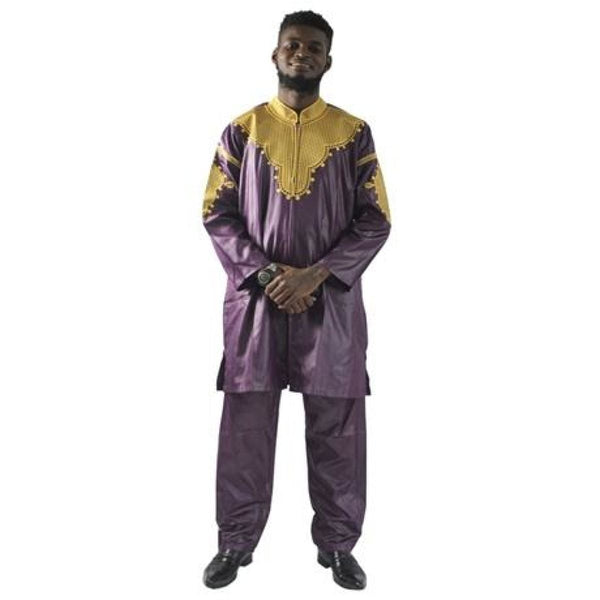 African Mens Clothing Traditional Front Zipper Riche Embroidered Dashiki Y20751