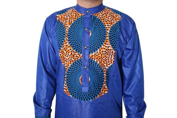 All African Clothing For Men Dashiki Wax Patchwork Top Pants Traditional Y20748