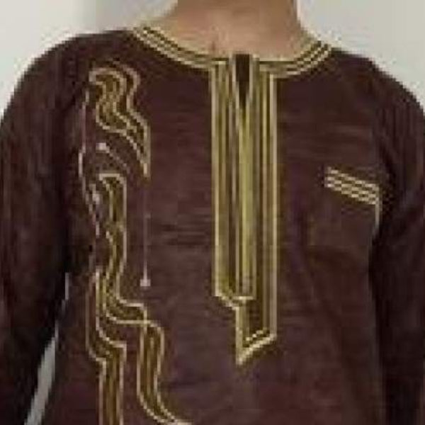 100% Cotton African Dashiki Bazin Brocade Embroidery Top-Pants  Y20737