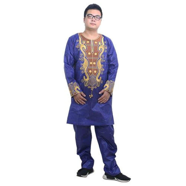 African Men Traditional Clothing Bazin Riche Embroidery Dashiki Top Shirt Y20746
