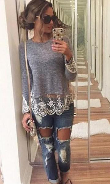 Vest Top Long Sleeve Blouse Casual Tank Tops T-Shirt Lace