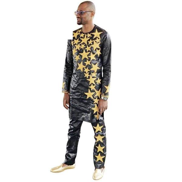 African Men Dashiki Bazin Riche Embroidery Star Design Top and Y20734