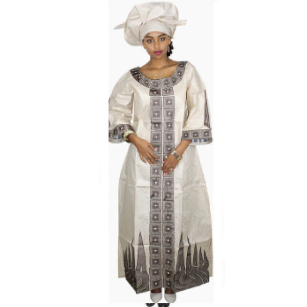 African Clothing For Woman Bazin Riche Embroidery Kaftan with Scarf X21201