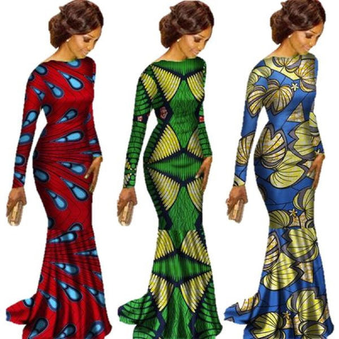 Plus Size African Prints Dashiki Maxi Dresses for X11354