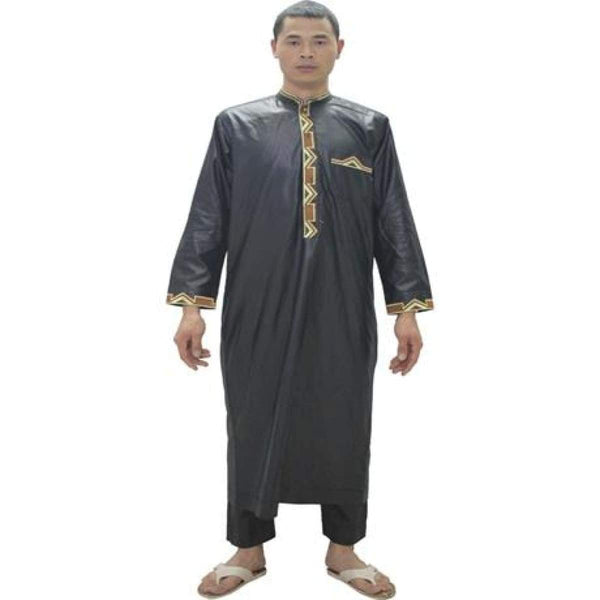 African Clothing Embroidered Dashiki Bazin Riche Men Outfit Long Kaftan Y20754