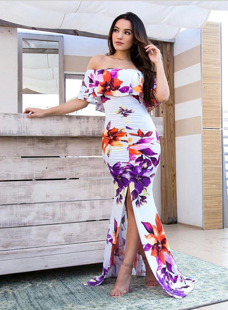 off Shoulder Short Sleeve Ruffle Floral Slit Mermadi Dress