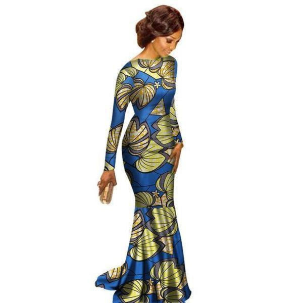 African Clothing Ankara dashiki Kanga Long-Sleeve Dress for women Cotton X11352