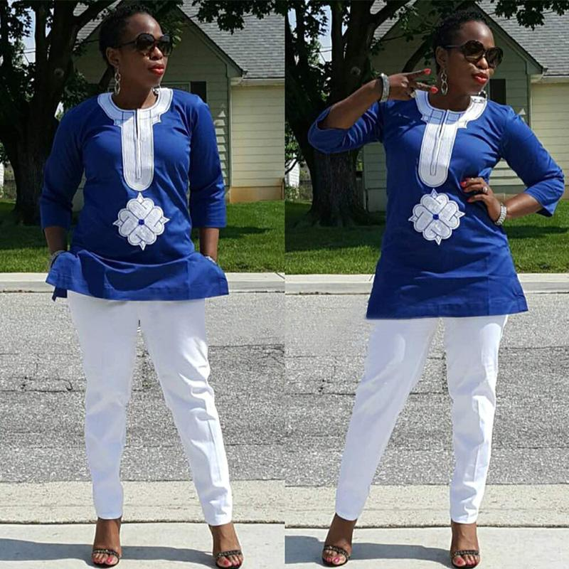 Women Dashiki Soft Fabric White Pants Blue Top With White Embroidery X20667