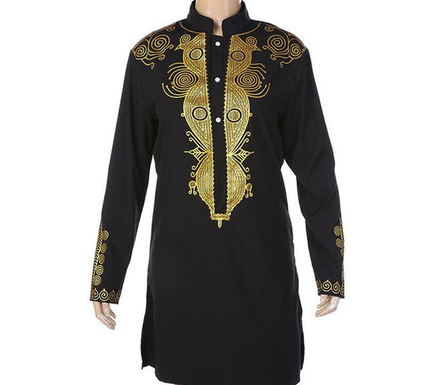African Dashiki Traditonal Stand Collar Printed Embroidery shirt for Men Y10565