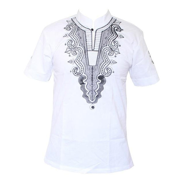 African Cotton Men/Women Embroidery Design Causal T-Shirt 5  Y20454