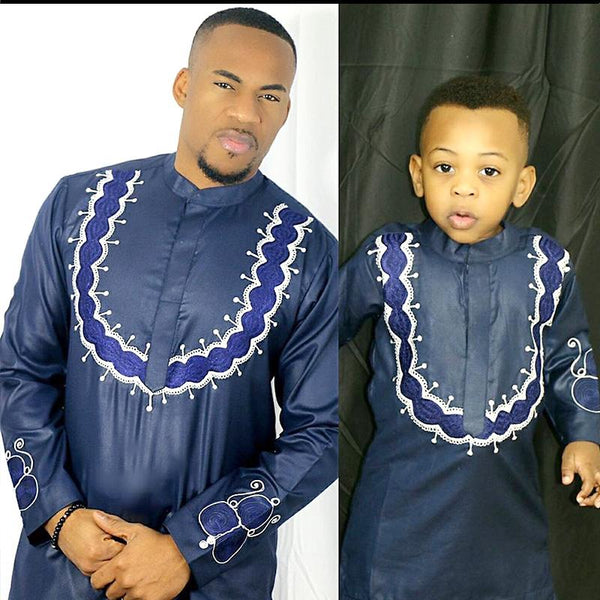 Embroidered African Clothing For Man and Child Top and Pants 2-Piece Y20727