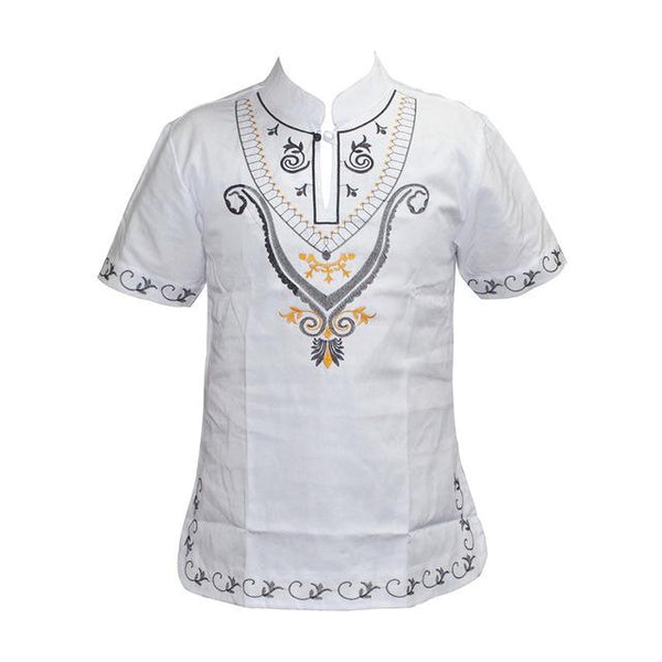 short-sleeve Stand Collar Dashiki T-Shirt For African Men Y20460