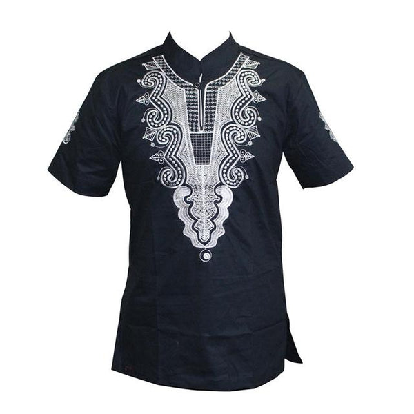 Embroidered Casual African Men Vintage Stand Collar Short Sleeve Tee Top Y20462