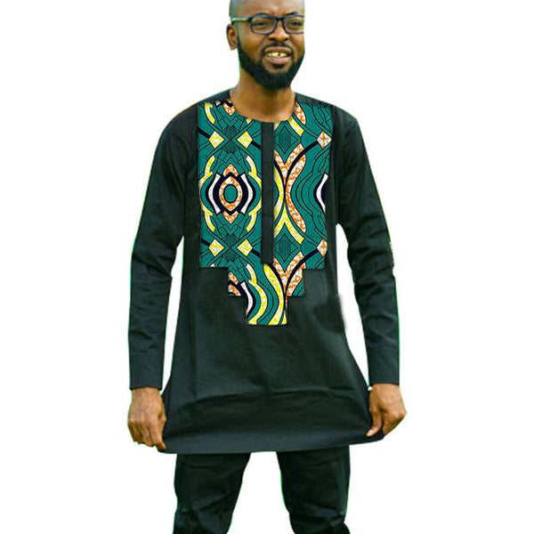 African Dashiki Print Patchwork Black Top Shirt For Men Y10491