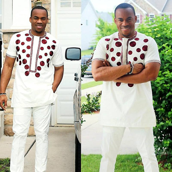 African Men Embroidery Design Top with Pants Only White Y20773
