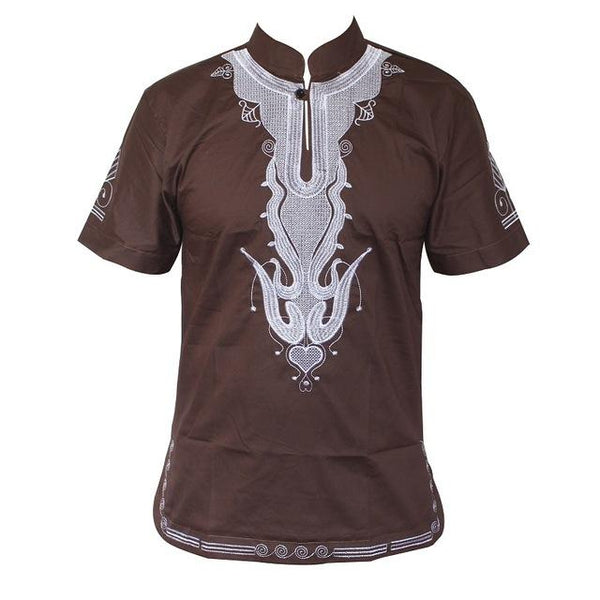 African Traditional Mali Style Embroidery Short Sleeve Vintage top Y20457