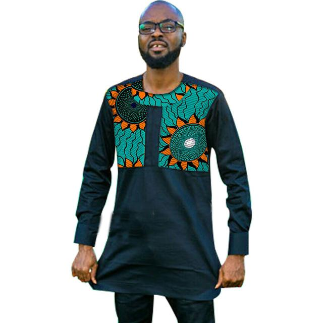 African Men Dashiki Kitenge Patchwork Black Stand Collar S Y10490