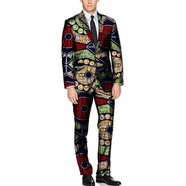 African Clothing Men Blazer+Pant Dashiki Kitenge Print Suits with  Y10896
