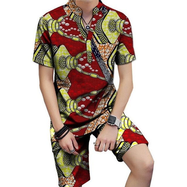 African Dashiki Print Short Sleeve Tops with Shorts 2Piece Set Y10579