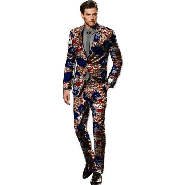 African Dashiki Blazer Suit with Pants Custom Made Cotton Wax Print Y10897