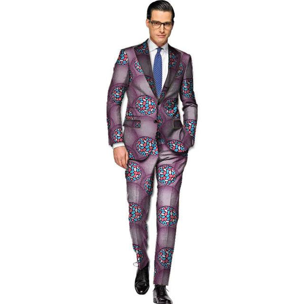 Men Tailor Made Cotton Wax African Clothing Blazer Suit with Pants Y10898