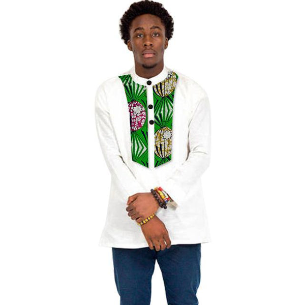 Custom Dashiki Print Patchwork Stand Collar Long Top For Men Y10498