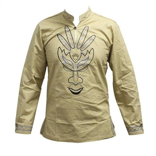 Traditional African Mali Embroidery Long Sleeve Top Y20456