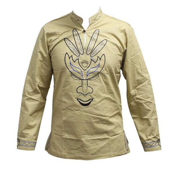 Traditional African Men Mali Embroidery Long Sleeve Feather Leaf Colors Y20470