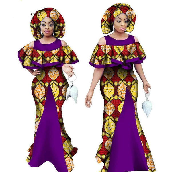 Formal Plus size African Wax Print Dresses with Scarf For X11379