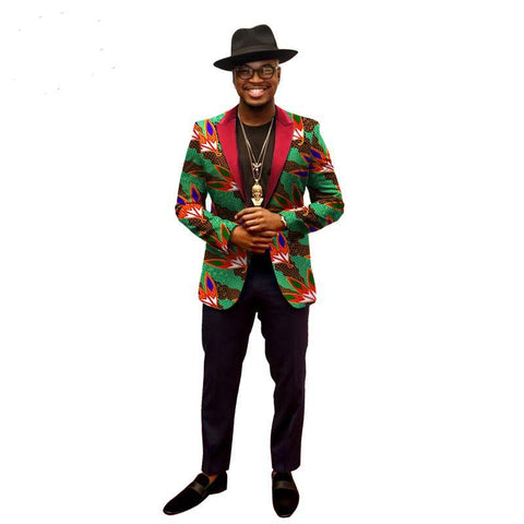 Men Africa Batik Dashiki Printing Slim Fit Blazer Business Suits-Pants Y10900
