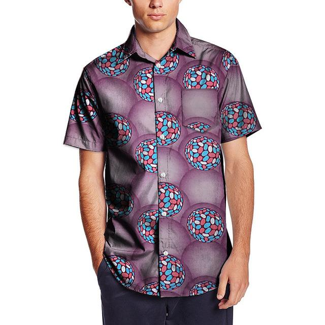 Men Africa Dashiki Kanga Ankara Kitenge Print Patchwork Short Sleeve Top Y10496