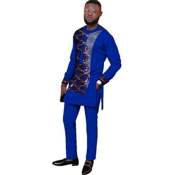 Natural Mens African Clothing Dashiki Men 2 Pieces Top and  Y10875