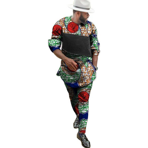 African Clothing Men Dashiki Kitenge Print with Black Patchwork Y10869