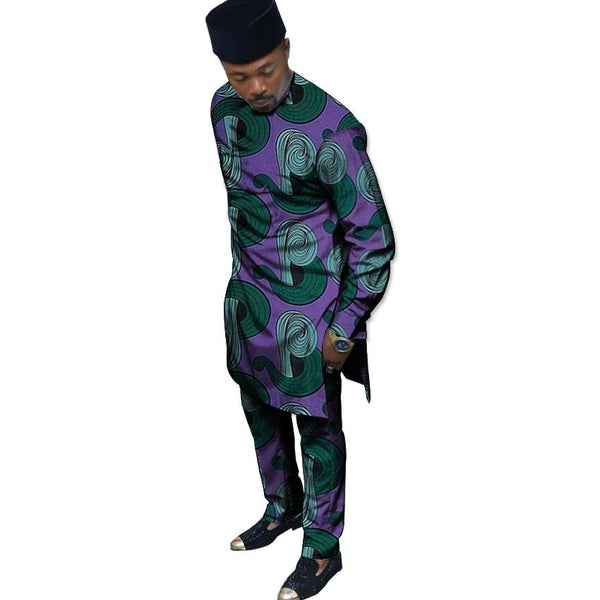 African Print Men'S Set Ankara Fashion Pattern Men Dashiki Tops with Y10864