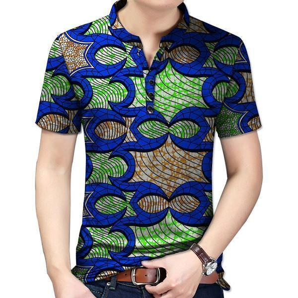 African Dashiki Wax Print Short Sleeve Stand Collar Top Y10488