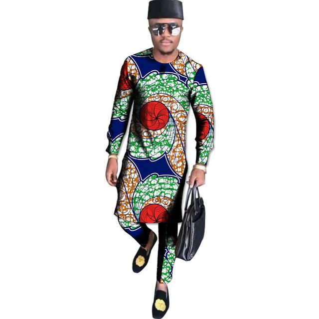 African Clothing Traditional Costume Long Shirt Men Tops with Trousers Y10868