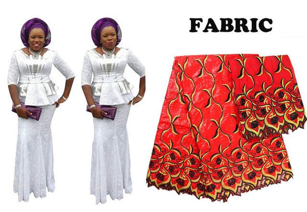 Traditional African 2Pcs Embroidery Top-Skirt Sets For Women Bazin Riche X30919