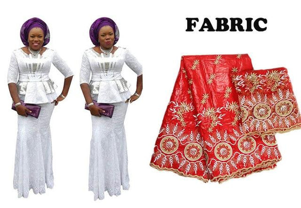 African Bazin Lace 2 Pieces Embroidery Skirt Set for X30909