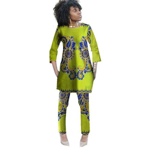 2-Piece Set Wax Top and Pants Bespoke African Clothing For Women X10701