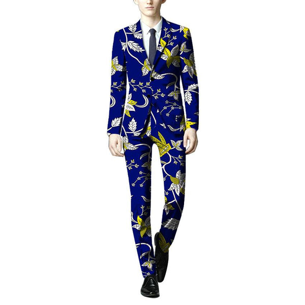 Dashiki African Men Slim-Fit Blazers and Pants Custom Made Set Y10893