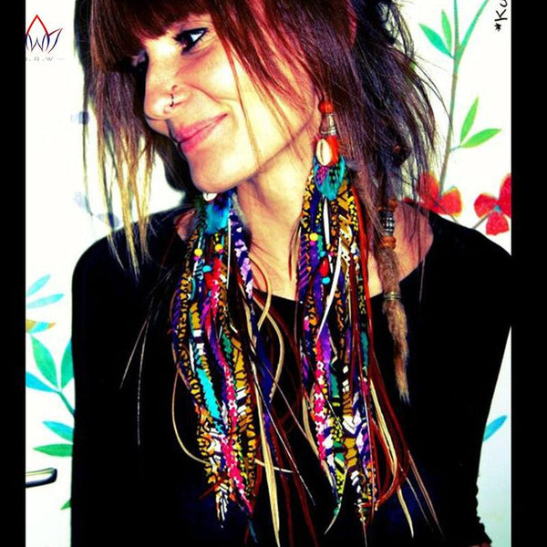 African Fabric Handmade Boho Long Earrings with Tassel Tribal Ankara Q11779