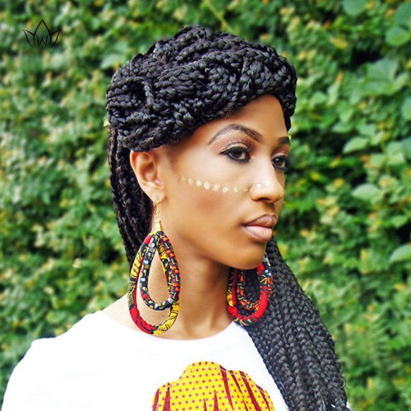 African Fabric Earrings Handmade Style with Tassels For Q11778