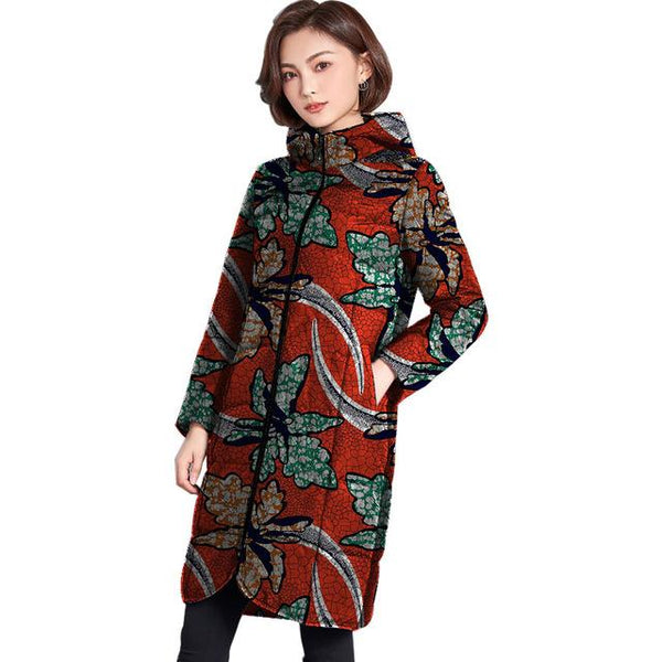 Dashiki African Wax Print Winter Jacket Outerwear Coat for Women X10418