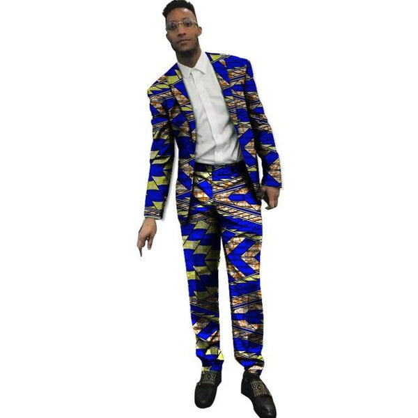 African print men's formal wear blazers dashiki suit jacket with pants Y10881