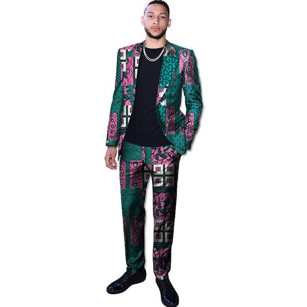 African men's custom dashiki print blazer jackets Suits and pants set Y10879