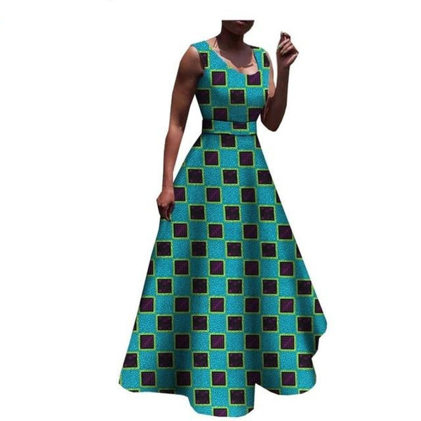African print sleeveless maxi trumpet dress  X11378