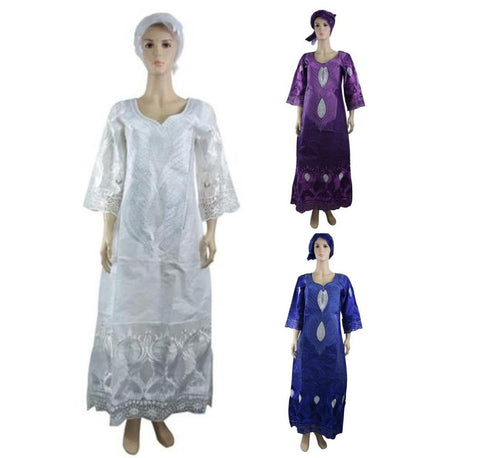 Lace Design African Women Embroidered Bazin Kaftan With Scarf white X21198