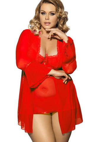 Red Plus Size lace Lingerie Babydoll Dress
